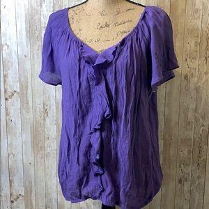 Sale ♻️ St Johns Bay Purple Ruffled Blouse